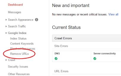 Google Webmaster Tools - Remove URLs menu item