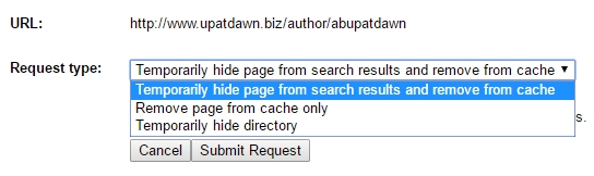 Google Webmaster Tools - Removal Request Type